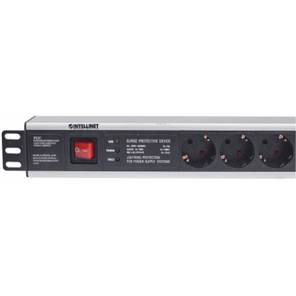 "19"" 1.5U Rackmount 6-Output Power Distribution Unit (PDU), EU CEE 7/3 Outlets, With On/Off Switch and Surge Protection, Built-in 3 m (10 ft.) Power Co"