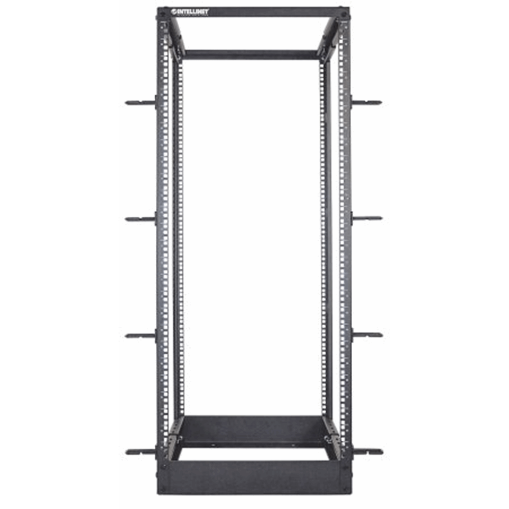 "19"" 4 Post Open Frame Rack Black, 558.8 (L) x 514.5 (W) x 1295.2 (H) [mm]"