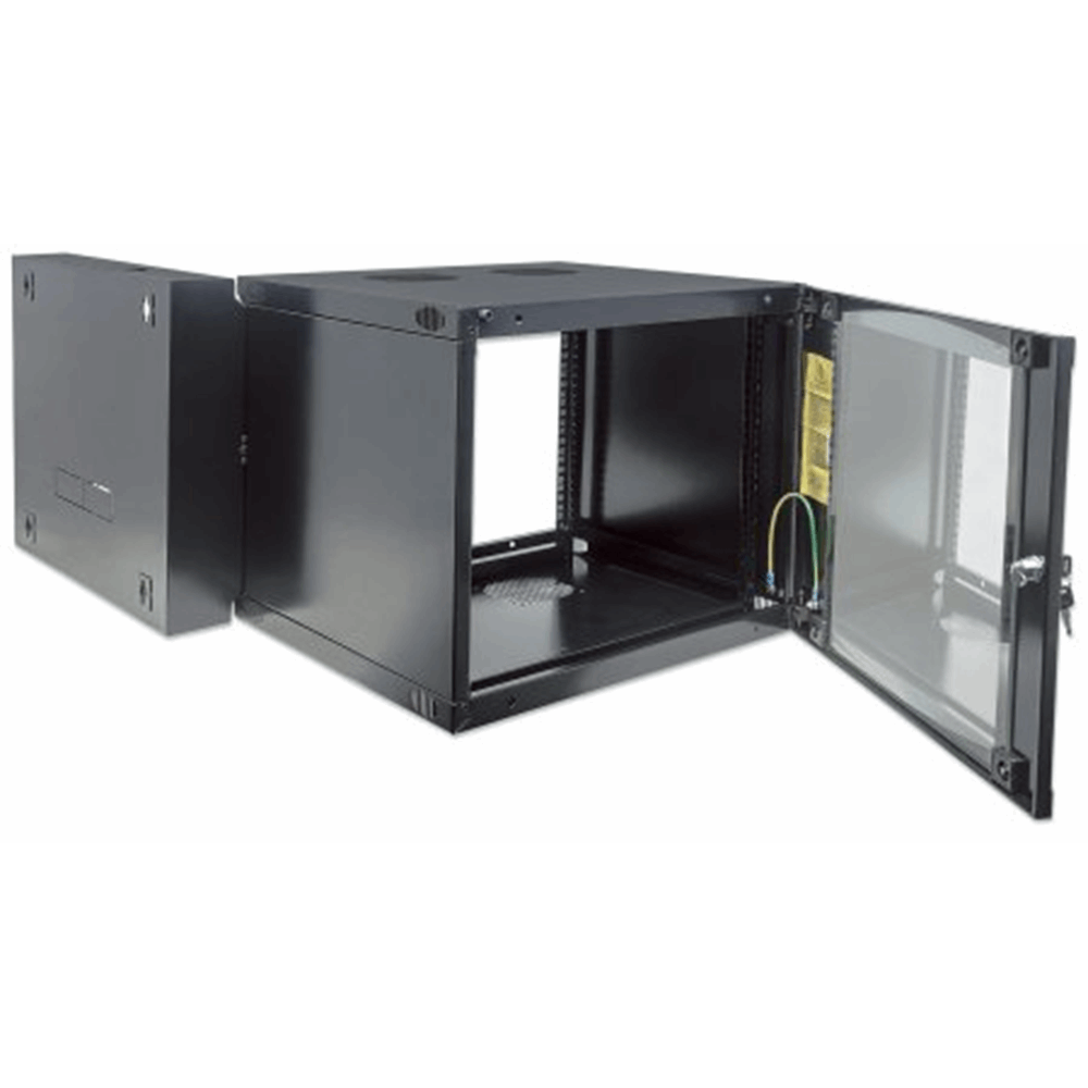 "19"" Double Section Wallmount Cabinet  Black, 600 (D) x 540 (W) x 725 (H) [mm]"