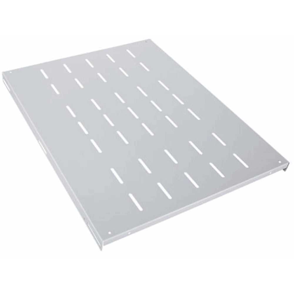 "19"" Fixed Shelf, 1U, 600 mm Depth, Heavy-Duty, Gray"