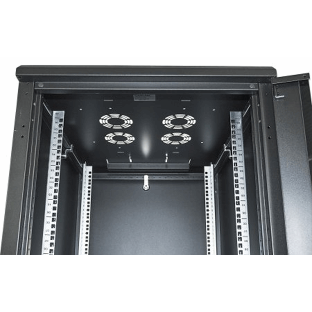 "19"" Network Cabinet, 22U, IP20-rated housing, Flatpack, Black"