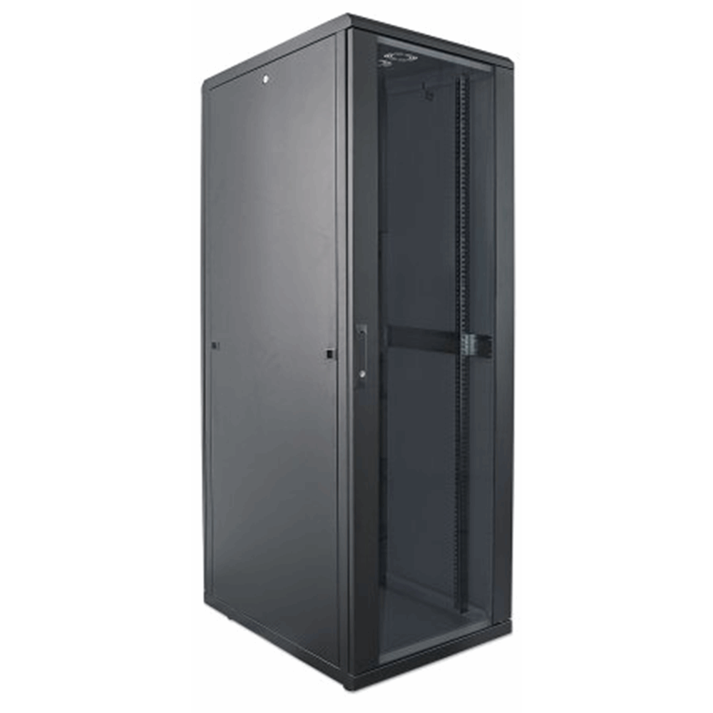 "19"" Network Cabinet, 32U, IP20-rated housing, Flatpack, Black"