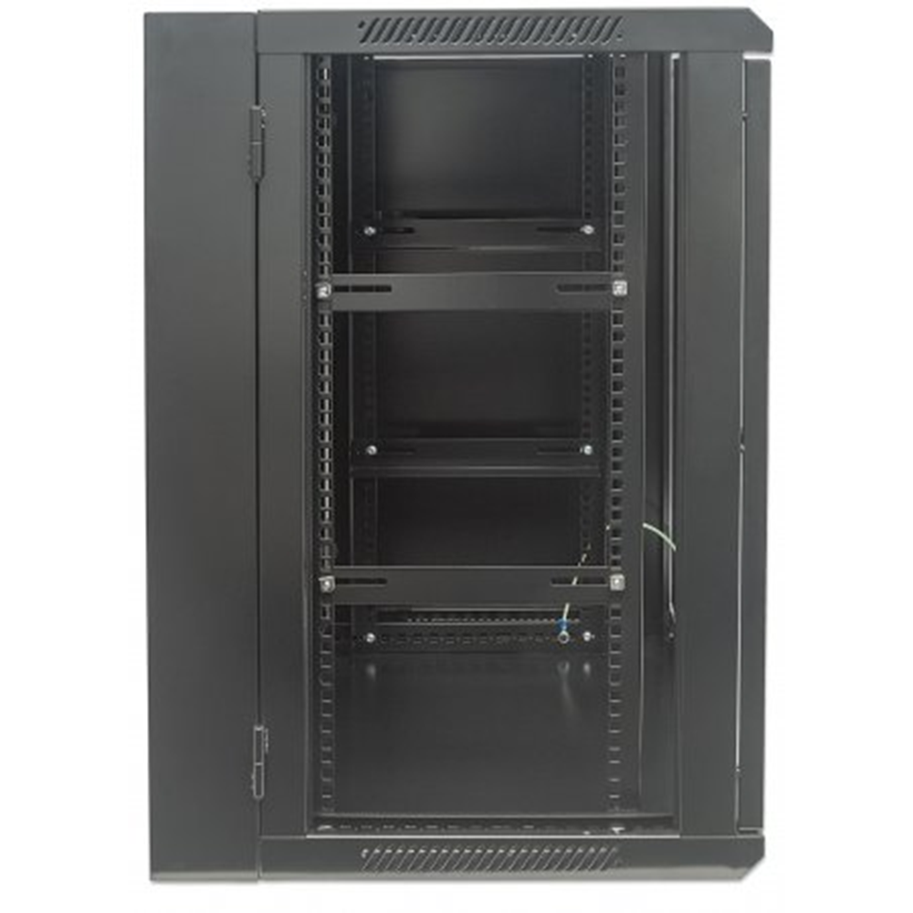 "19"" Double Section Wallmount Cabinet Black RAL9005, 770 x 600 x 550 (mm)"