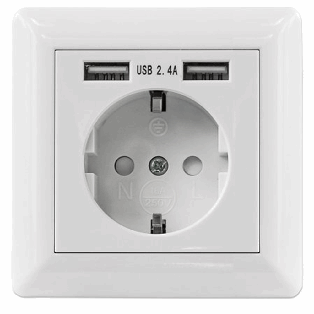 2-Port USB-A Wall Outlet and CEE 7/3 Socket with Faceplate