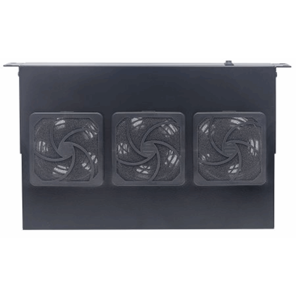 "3-Fan Ventilation Unit for 19"" Racks Black RAL9005"