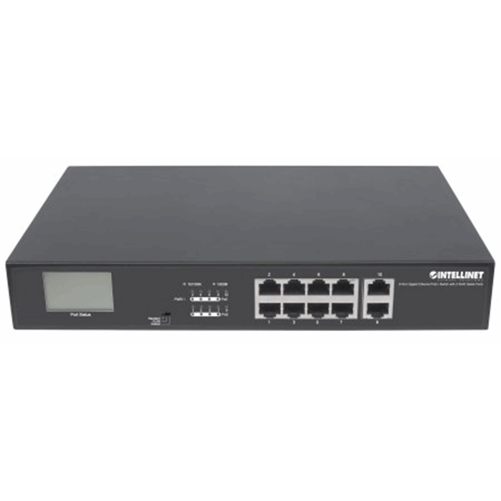 8-Port Gigabit Ethernet PoE+ Switch with 2 RJ45 Gigabit Uplink Ports and LCD Screen