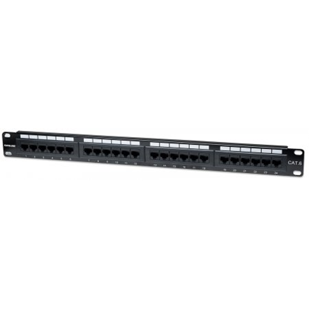 Cat6 Patch Panel, 24-Port, UTP, 1U