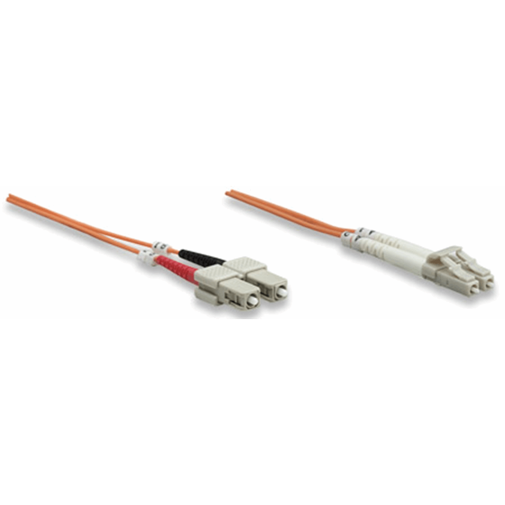 Fiber Optic Patch Cable, Duplex, Multimode, LC/SC, 50/125 µm, OM2, 2.0 m (7.0 ft.), Orange