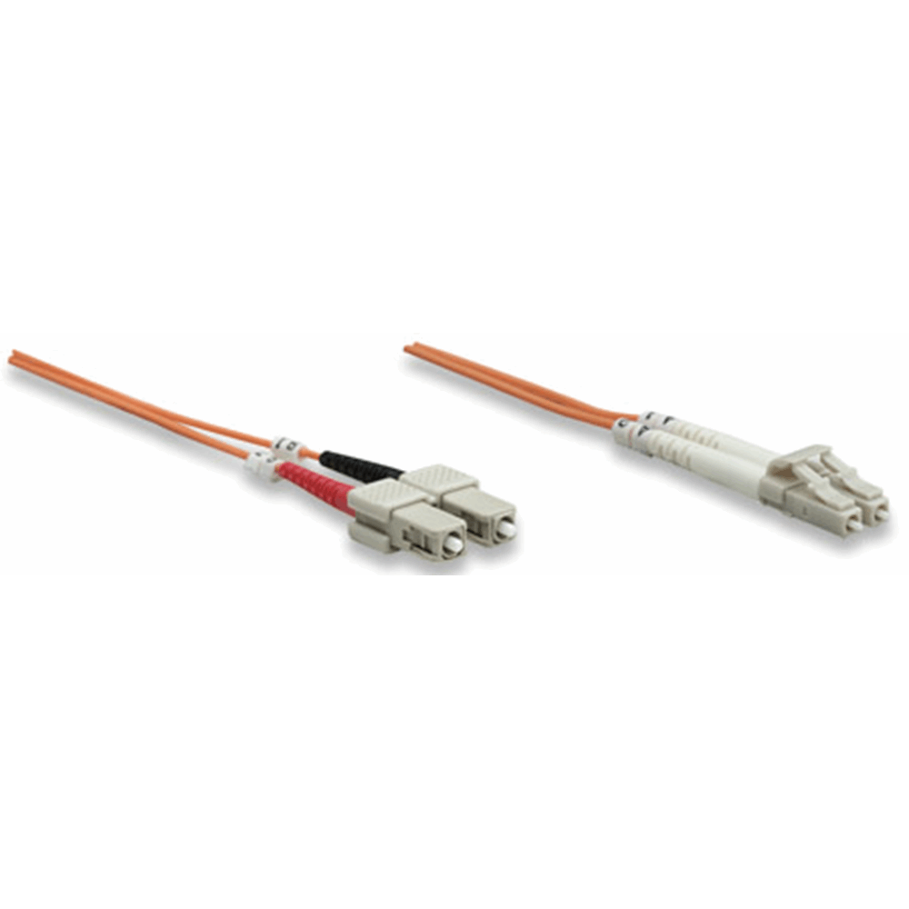 Fiber Optic Patch Cable, Duplex, Multimode, LC/SC, 62.5/125 µm, OM1, 2.0 m (7.0 ft.), Orange