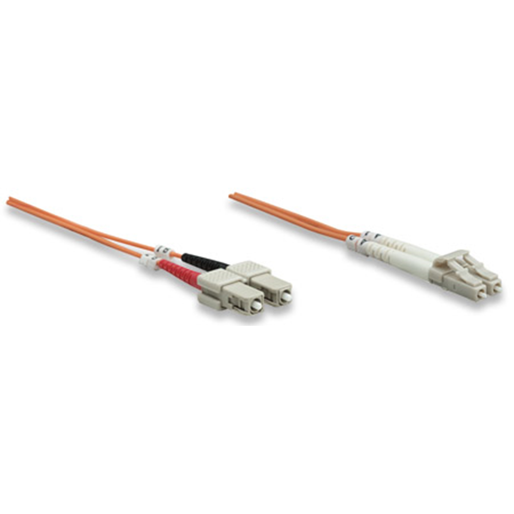 Fiber Optic Patch Cable, Duplex, Multimode, LC/SC, 62.5/125 µm, OM1, 10.0 m (33.0 ft.), Orange