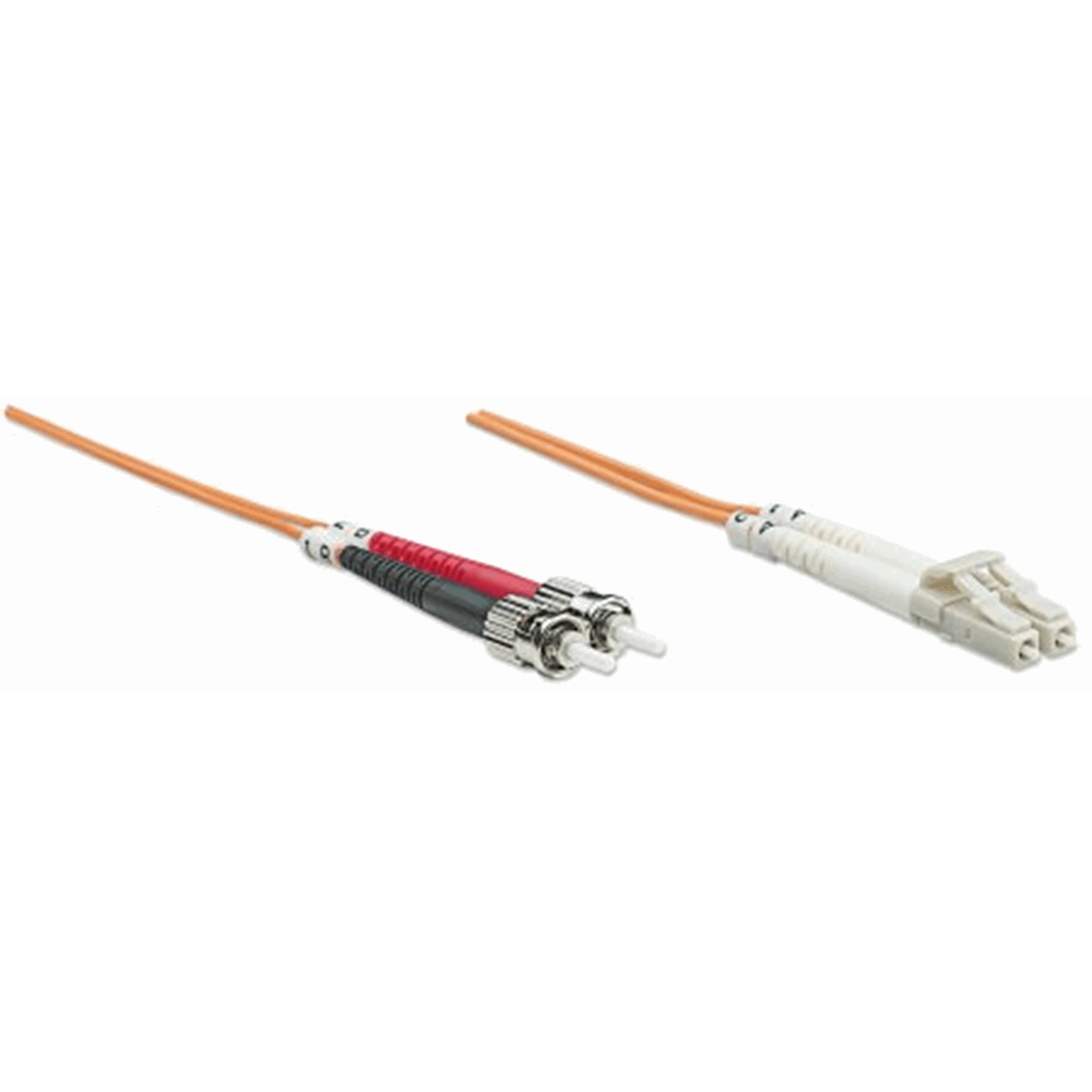 Fiber Optic Patch Cable, Duplex, Multimode, LC/ST, 62.5/125 µm, OM1, 20.0 m (66.0 ft.), Orange