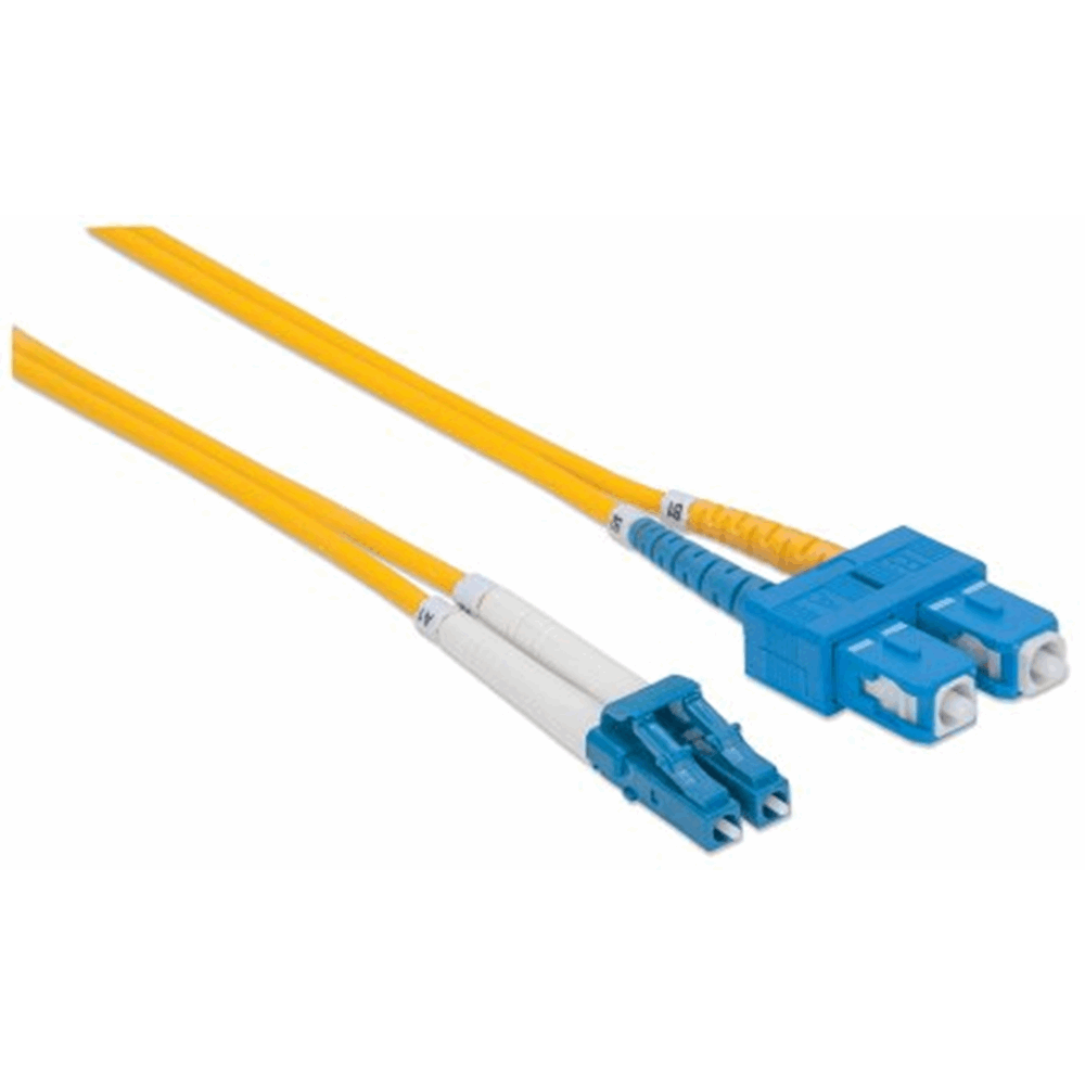 Fiber Optic Patch Cable, Duplex, Single-Mode, LC/SC, 9/125 µm, OS2, 5.0 m (14.0 ft.), Yellow