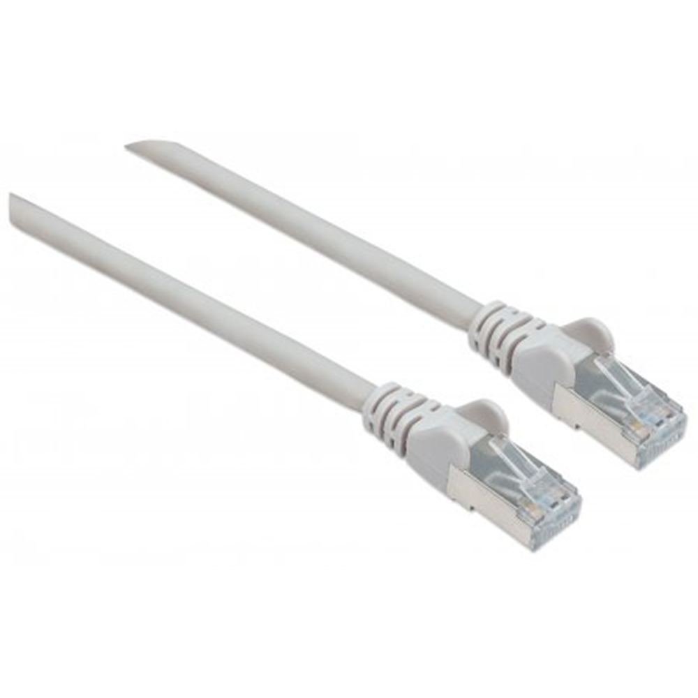 High Performance Network Cable, S/FTP 26 AWG, CAT7 Raw Cable, CAT6a Modular plugs, 0.25 m, Gray