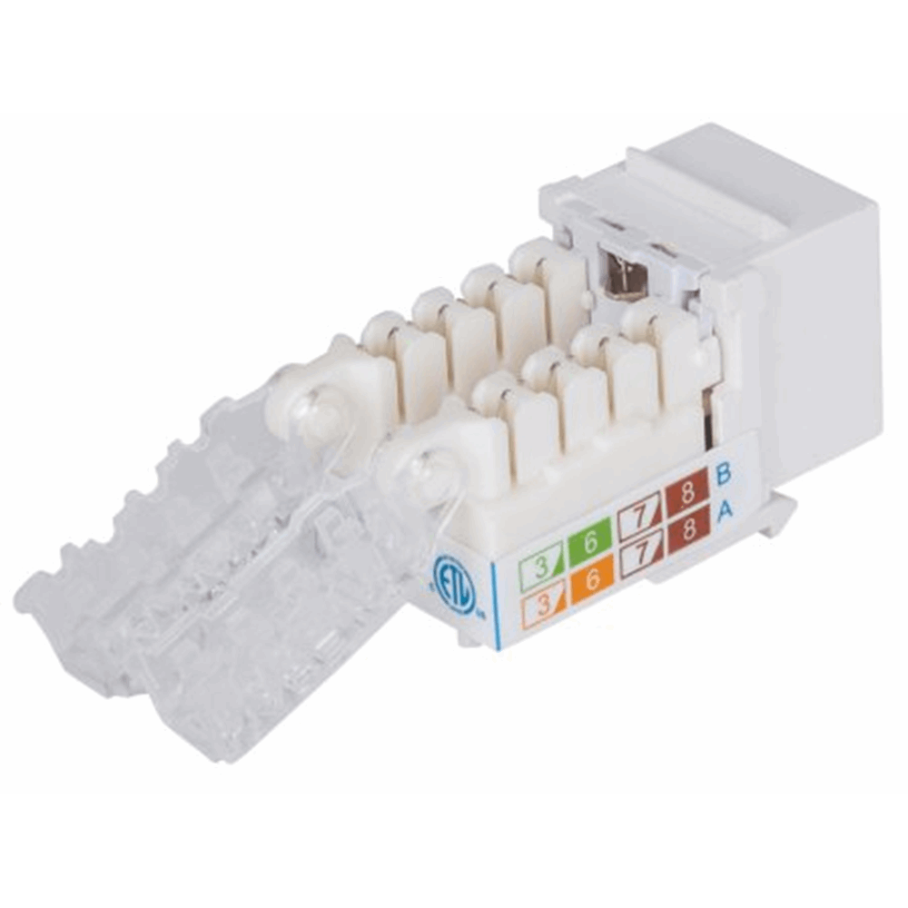 Locking Cat6 Keystone Jack White