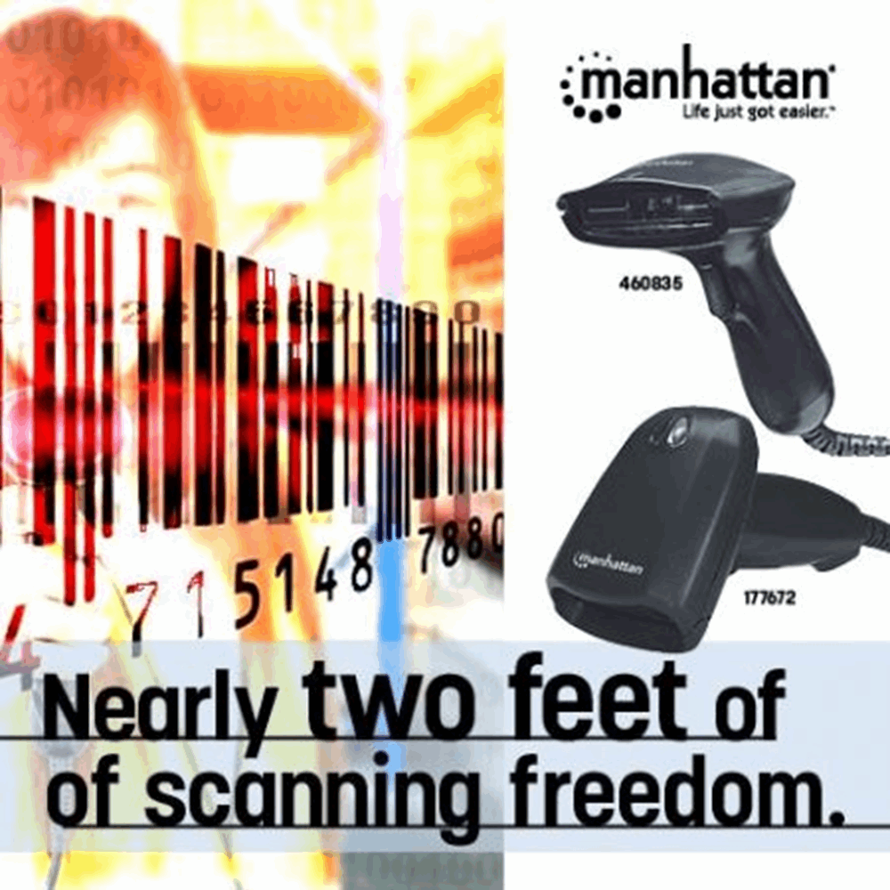 Long Range CCD Barcode Scanner Black, 17.75 x 8.9 x 1.9 cm