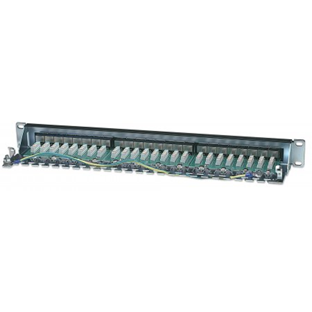 Cat6 Shielded Patch Panel, 24-Port, FTP, 1U, 90° Top-Entry Punch-Down Blocks, Black