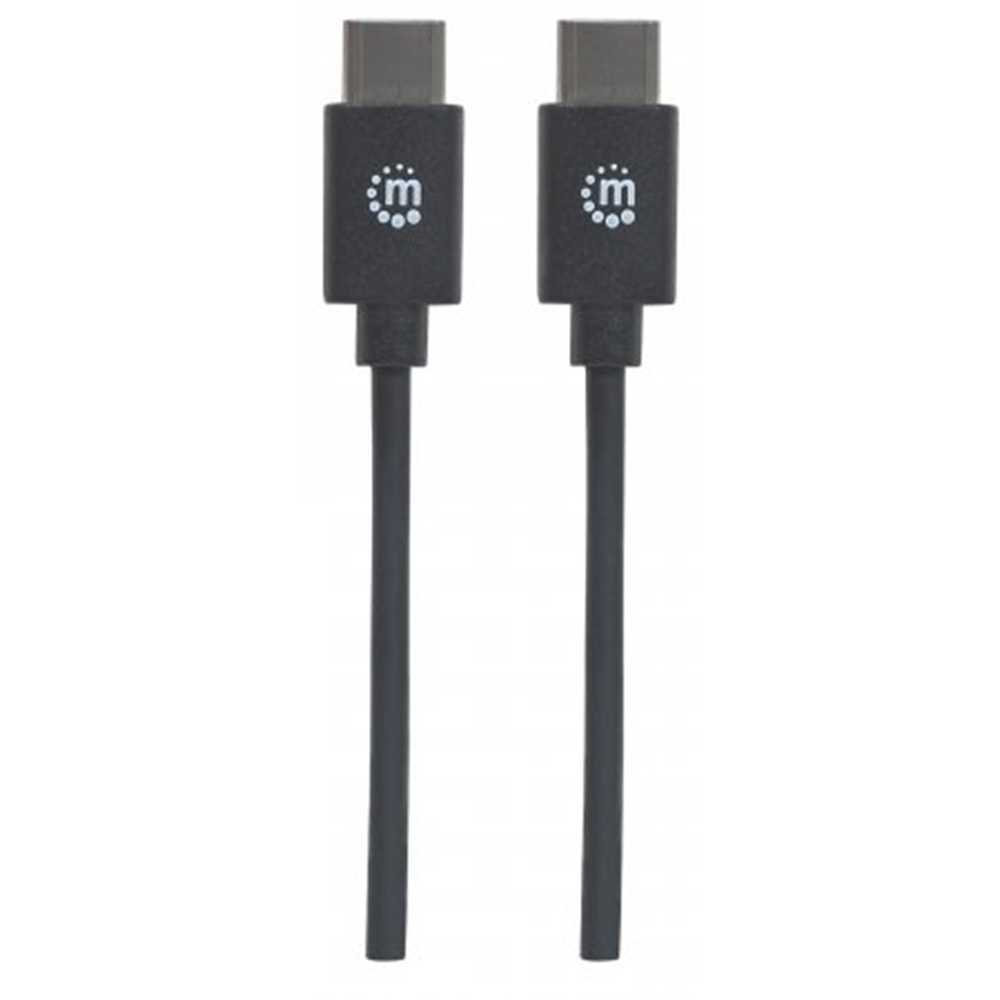 Hi-Speed USB C Device Cable, USB 2.0, Type-C Male to Type-C Male, 480 Mbps, 1 m (3 ft.), Black