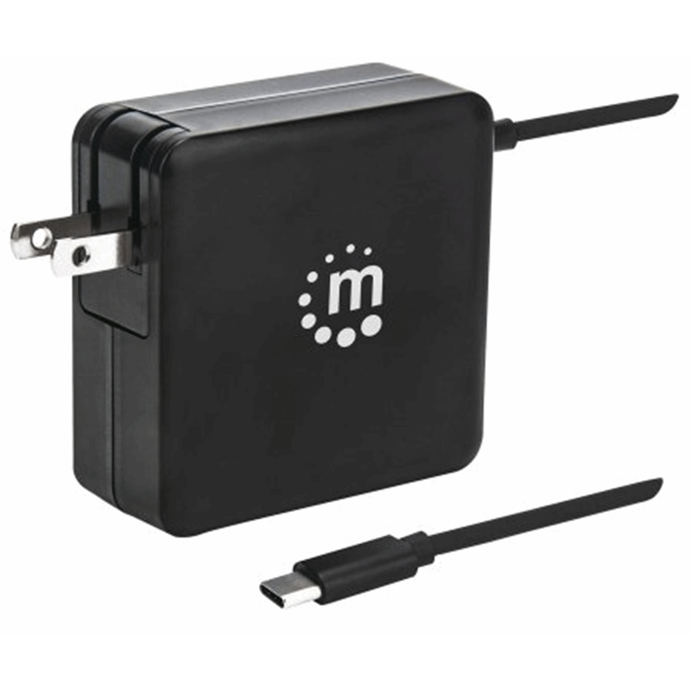 Power Delivery Wall Charger with Built-in USB-C Cable - 60 W  Black