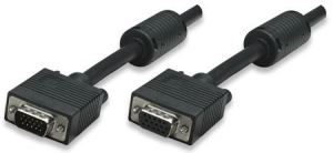 SVGA Extension Cable, HD15 Male / HD15 Female with Ferrite Cores, 15 m (50 ft.), Black