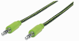 Braided Audio Cable Black/Green, 1.8 m