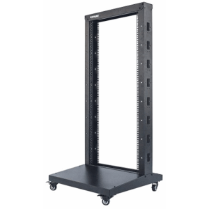 "19"" 2 Post Open Frame Rack Black, 602.7 (L) x 600 (W) x 2006.58 (H) [mm]"
