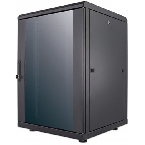 "19"" Network Cabinet, 16U, IP20-rated housing, Flatpack, Black"