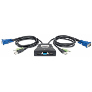 2-Port Mini KVM Switch, 2-Port USB, Audio Support