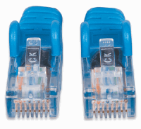 Network Cable, Cat5e, UTP Black w/ Blue Boot, 2.0 m
