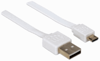 Flat Micro-USB Cable White, 1 m