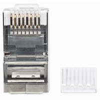 90-Pack Cat6 RJ45 Modular Plugs, STP, 3-prong, for solid wire, 90 plugs in jar
