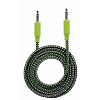 Braided Audio Cable, 3.5mm Stereo Male to Male, Black/Green, 1 m (3 ft.)
