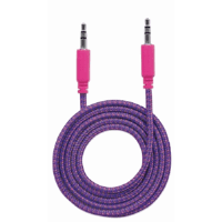 Braided Audio Cable, 3.5mm Stereo Male to Male, Purple/Pink, 1 m (3 ft.)