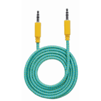 Braided Audio Cable, 3.5mm Stereo Male to Male, Teal/Yellow, 1 m (3 ft.)
