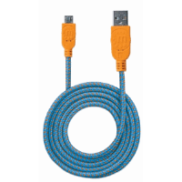 Braided Hi-Speed USB Micro-B Device Cable, USB 2.0, Type-A Male to Micro-B Male, 480 Mbps, 1.8 m (6 ft.), Blue/Orange