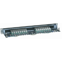 Cat6 Shielded Patch Panel, 16-Port, FTP, 1U, 90° Top-Entry Punch-Down Blocks