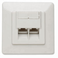 Cat6 Wall Plate, Flush Mount, 2-Port, FTP, Ivory