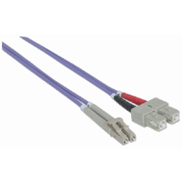 Fiber Optic Patch Cable, Duplex, Multimode, LC/SC, 50/125 µm, OM4, 20.0 m (66 ft.), Violet