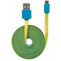 Flat Hi-Speed USB Micro-B Device Cable Blue/Yellow, 1.8 m