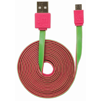 Flat Hi-Speed USB Micro-B Device Cable Pink/Green, 1 m