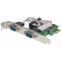 Serial PCI Express Card, Two DB9 Ports; Fits PCI Express x1, x4, x8 and x16 Lane Buses