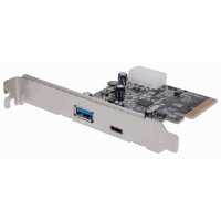 SuperSpeed+ USB 3.1 PCI Express Card, Two external SuperSpeed+ USB 3.1 ports, 1 Type-C and 1 Type-A