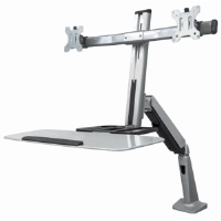 Universal Sit/Stand Workstation Mount Silver and Black, 1150 (L) x 760 (W) x 1020 (H) [mm]