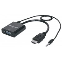 HDMI to VGA Converter , HDMI Male to VGA Female, with Audio, Optional USB Micro-B Power Port, Black