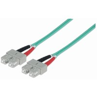 Fiber Optic Patch Cable, Duplex, Multimode, SC/SC, 50/125 µm, OM3, 2.0 m (7.0 ft.), Aqua