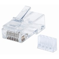 90-Pack Cat6 RJ45 Modular Plugs, UTP, 3-prong, for solid wire, 90 plugs and liners in jar