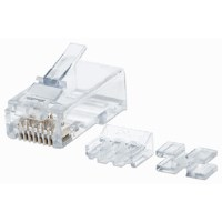 80-Pack Cat6A RJ45 Modular Plugs, UTP, 3-prong, for solid wire, 80 plugs in jar